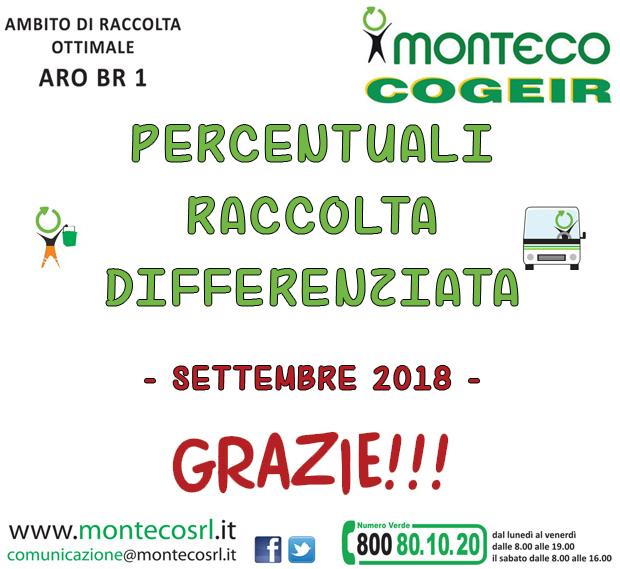 ARO BR/1. RISULTATI RACCOLTA DIFFERENZIATA NEL MESE DI SETTEMBRE2018