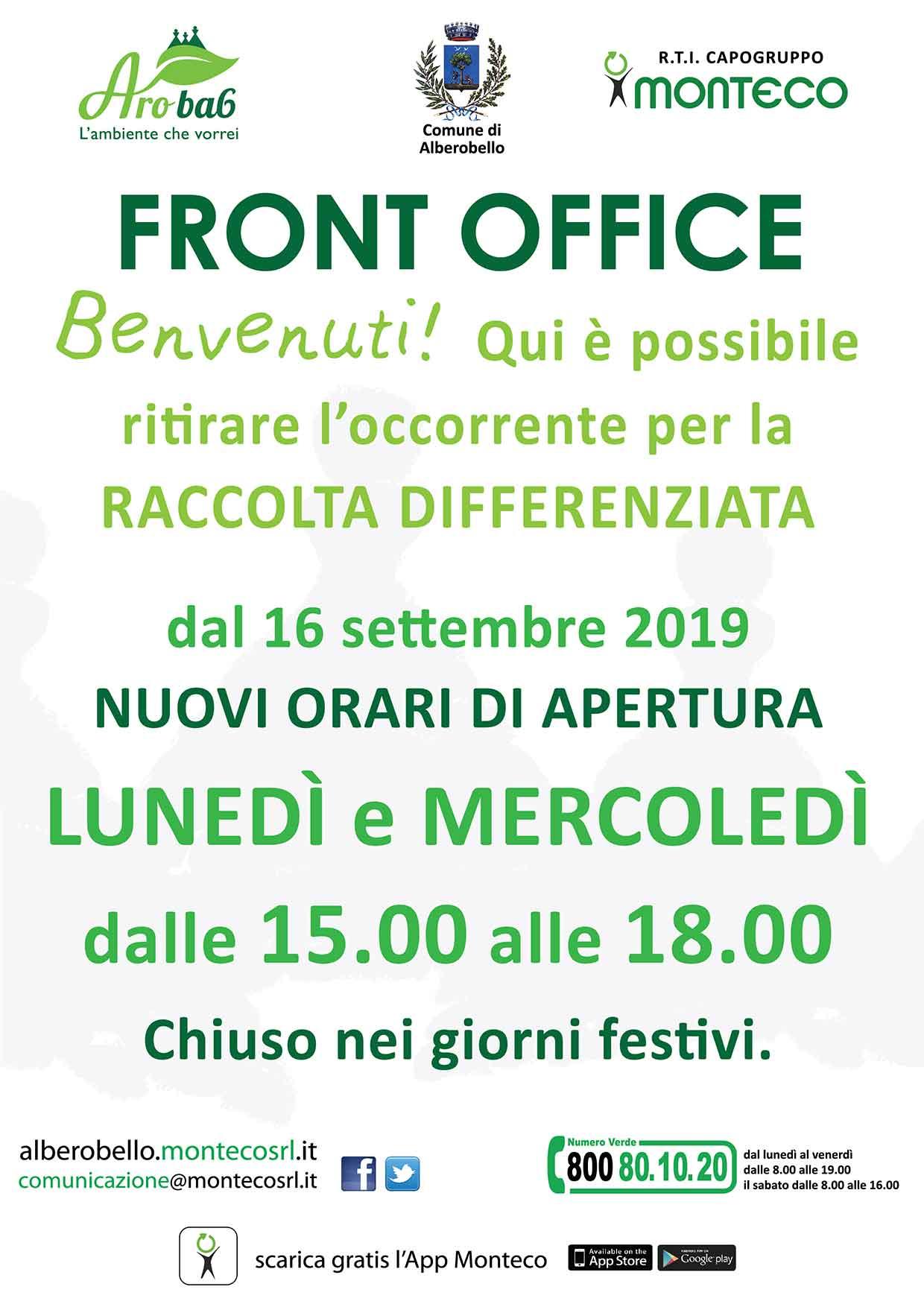 nuovi orari di apertura del Front Office di Alberobello