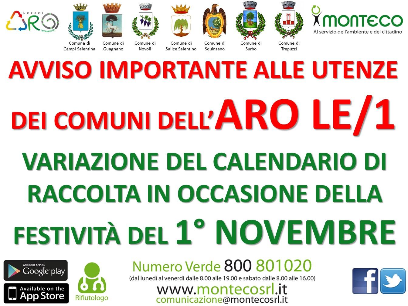 ARO LE/1: variazione calendario di raccolta il 1° novembre