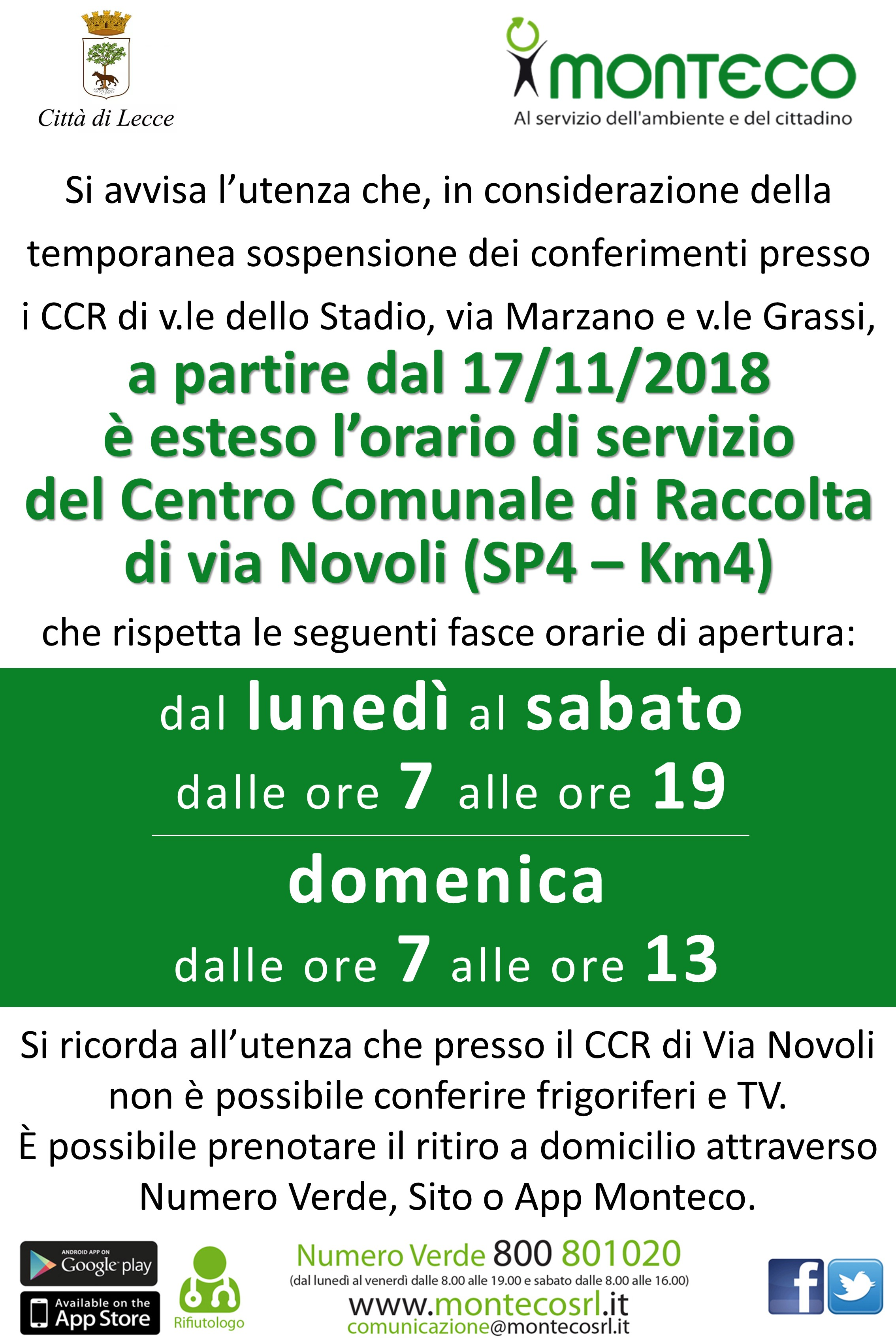 apertura orario CCR Lecce via Novoli