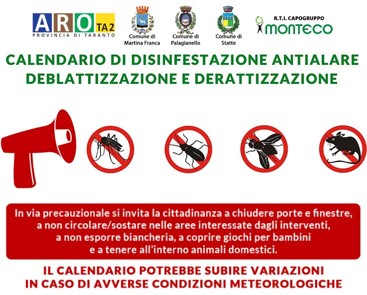 ARO TA2. Calendari di disinfestazione antialare, deblattizzazione e derattizzazione