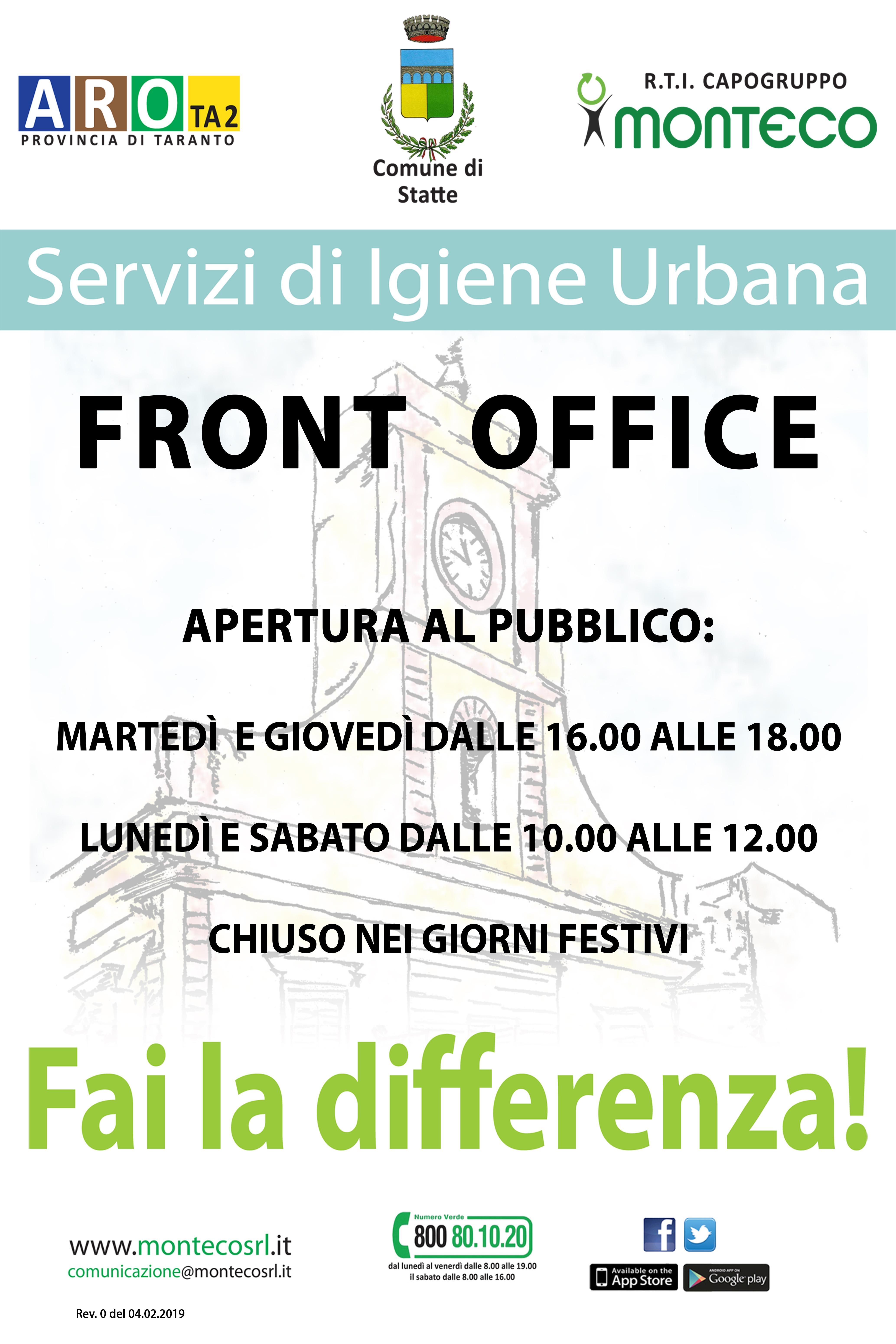 Statte - Nuovi orari Front Office