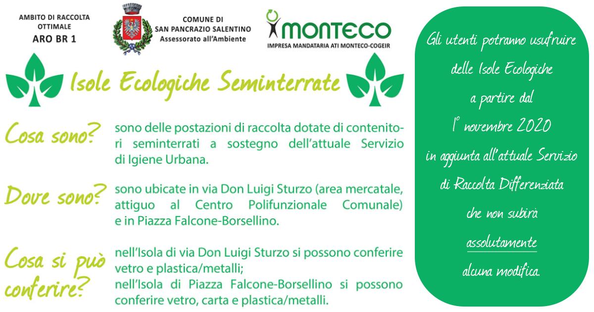 San Pancrazio Salentino: attivazione Isole Ecologiche seminterrate
