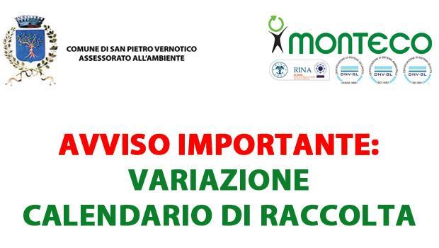 Avviso importante per i cittadini di San Pietro Vernotico: variazione calendario di raccolta